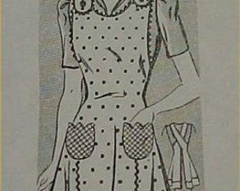 Vintage Bib Apron Full Size Pattern 1930s Country Farm by effies1