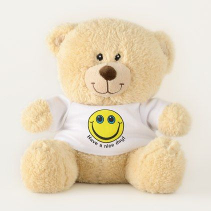 #Yellow Smiley Face Have a Nice Day Small Teddy Bear - #emoji #emojis #smiley #smilies
