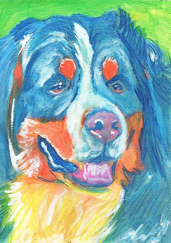 Bernese Mountain Dog art print dog painting art by OjsDogPaintings