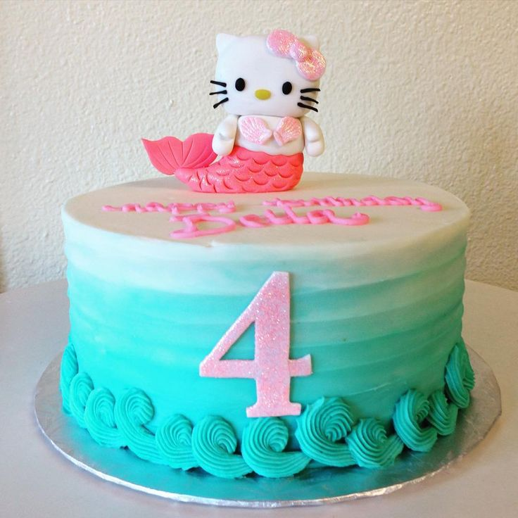 Hello Kitty Mermaid Cake. Could use anything on top for under the sea cake