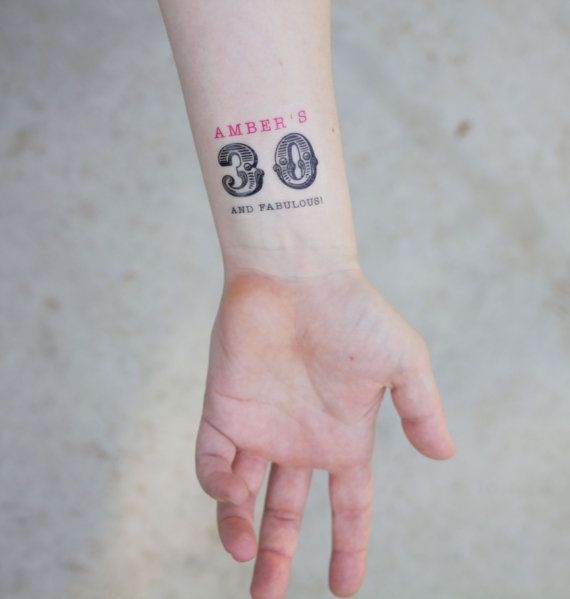 30th Birthday temporary tatttoo. Great for the dirty thirty party. Available at: www.kristenmcgillivray.etsy.com