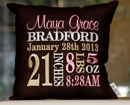 Personalized Birth Announcement Pillow great accessory for the nursery.