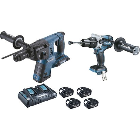 Pack 2 machines 18 V Li-Ion 4 Ah Perfor-burineur + perceuse visseuse à percussion MAKITA DLX2101PMJ - Outillage
