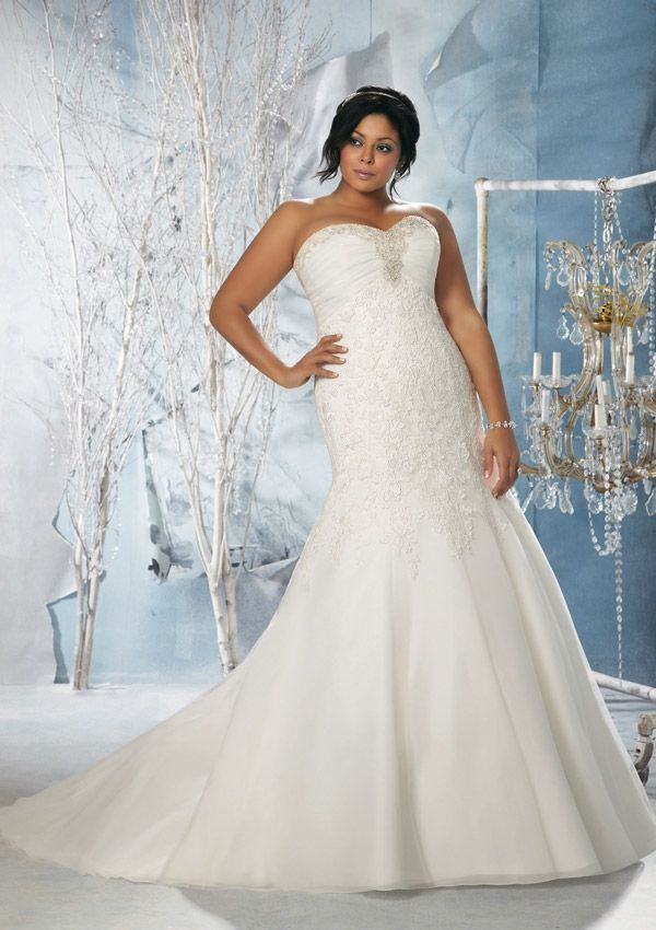 Spectacular Train Satin Plus Size Wedding Dress