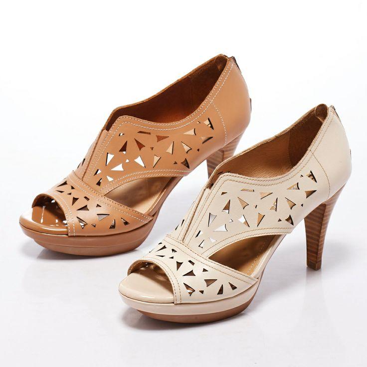 3-2780 Fair Lady 鏤空雕花露趾厚底高跟鞋 棕 - Yahoo!奇摩購物中心
