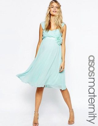 ASOS Maternity WEDDING Chiffon Midi Dress With Corsage - Shop for women's Dress - Blue