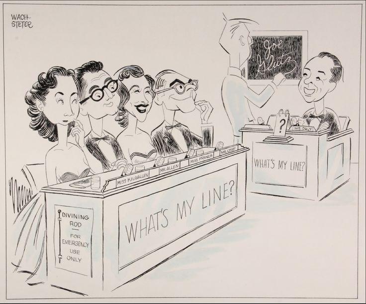 What's My Line? (1950-67, CBS) by George Wachsteter — from left: Dorothy Kilgallen, Steve Allen, Arlene Francis, Bennett Cert & host John Charles Daly