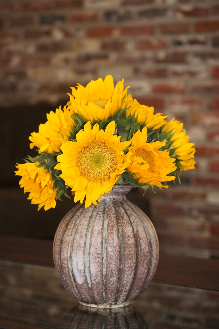 Sunflowers in McCarty Vase....LOVE