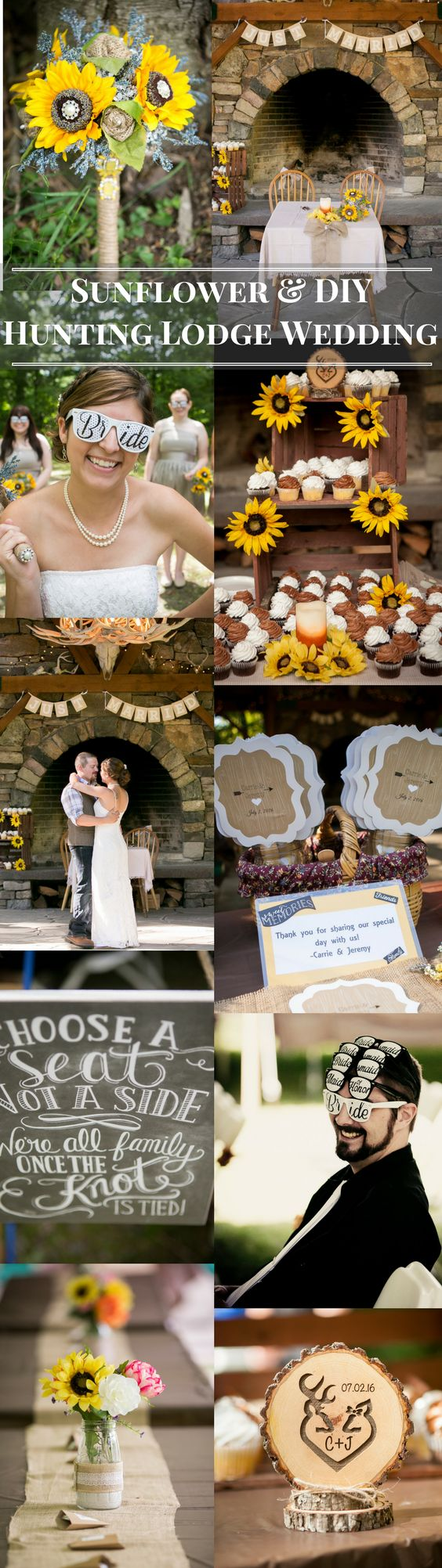 A budget friendly picnic and outdoor wedding filled with love and family. DIY your heart out for this wedding decor by making your own banner and bouquet. A simple wedding theme for the rustic bride.  Wedding color palette sunflower yellow and chocolate brown are perfect for summer and fall weddings. Complement the colors with burlap accents.