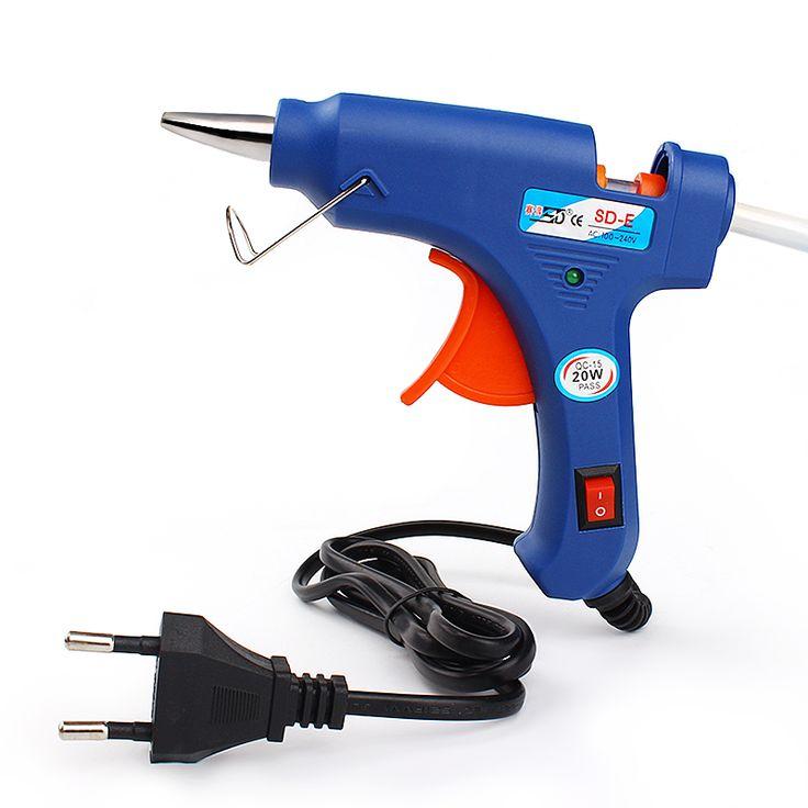 UE Plug Pistola De Cola quente Para BRICOLAJE Profesional de Alta Temperatura calentador de 20 W barra de Pegamento de Fusión En Caliente Pistola de Pegamento Con 1 unid # KF