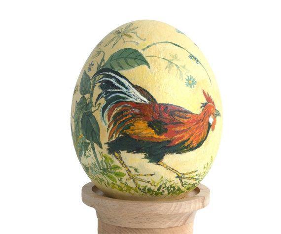 Hand geschilderd struisvogel ei, Pasen eieren Pysanky, beschilderde eieren, ei kunst, eieren versieren, ei ornament, eierschaal, Pasen decor. Haan en kip