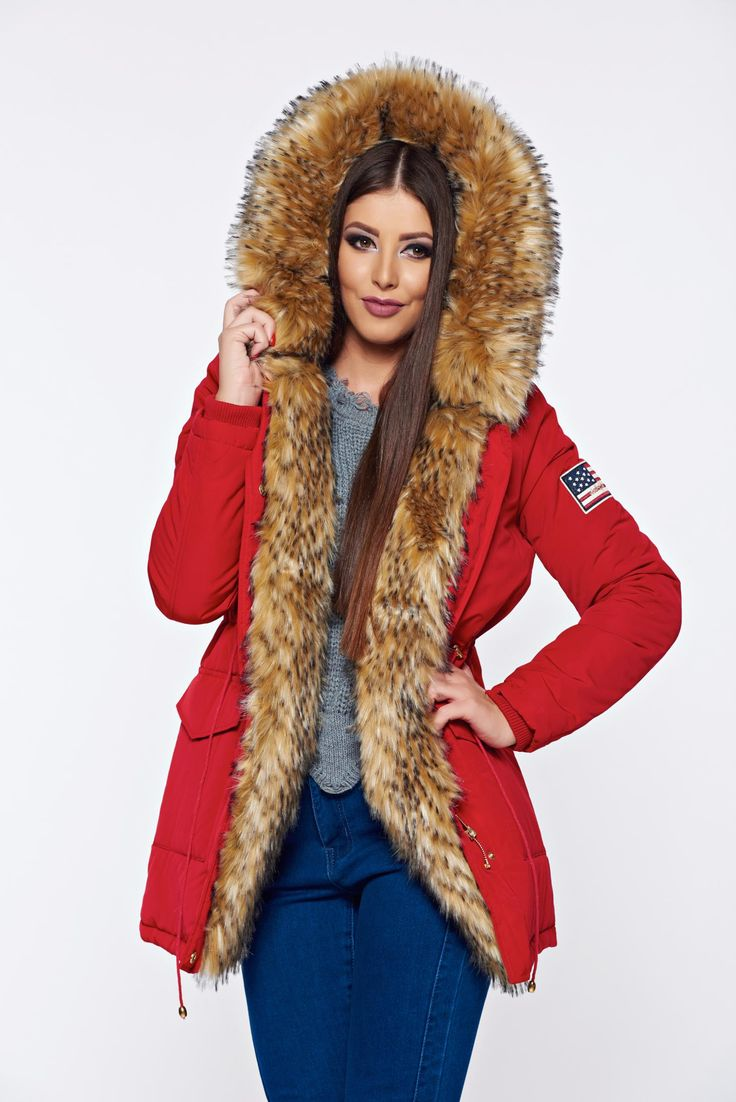 Red casual jacket with pockets and faux fur details, women`s jacket, with pockets, zipper fastening, undetachable hood, faux fur details
