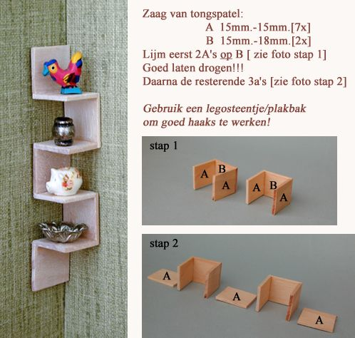 How to make unique miniature corner shelf for dollhouse - great for those tight corners