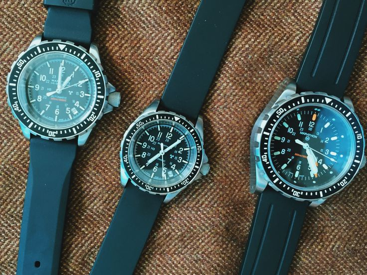 All three sizes of the Marathon Diver:  36mm medium, 41.5mm GSAR and 46mm JSAR. Which one is just right for you? #Marathon #watch #pageandcooper