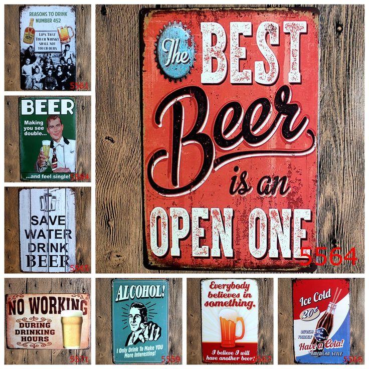 Bier Vintage Metalen Borden Metalen Muurplaques Art Plaque Metalen Decoratieve Vintage Pub Posters 20*30 CM