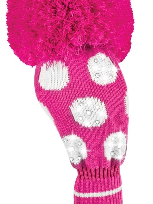 Love Golf Headcovers? Here's our  Precious Pink (Pink and White) Just4Golf Sparkle Large Dot Driver Golf Headcover! Find plenty of Golf Accessories here at #lorisgolfshoppe