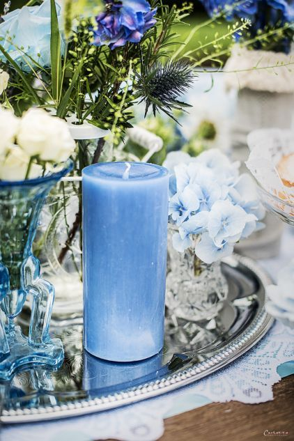 Tischdeko In Der Farbe Blau Hochzeit By Christiane Sch Pinterest