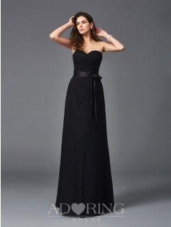 A-Line Sweetheart Sleeveless Lace Sash/Ribbon/Belt Floor-Length Bridesmaid Dresses
