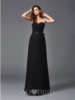 A-Line Sweetheart Sleeveless Lace Sash/Ribbon/Belt Floor-Length Bridesmaid Dresses