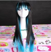 Long Straight Wigs Synthetic Cheap Wigs For Sale Korean Wig Black And Blue Mixed Cute Wigs