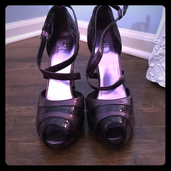 HOT stilettos!  Purple strappy high heels Purple (darker purple strips are textured) - strappy high heels. These are super sexy stilettos!  Great condition - only worn a few times. Bakers Shoes Heels
