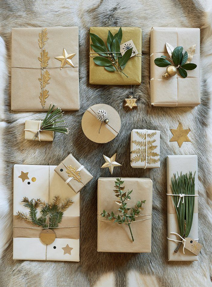 Des paquets cadeaux joliment décorés pour les fêtes ! - natural gift wrapping - Marie Claire Idées
