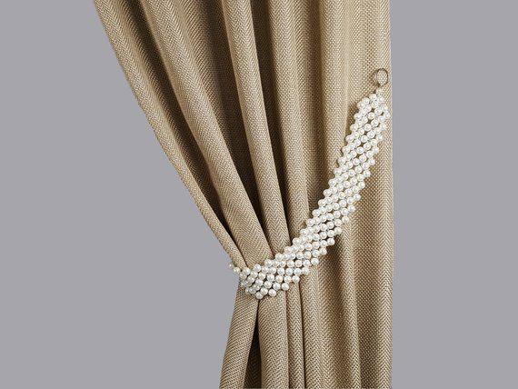 Curtain Tie Back Pearl White Belt Rhinestones Tiebacks Pearl