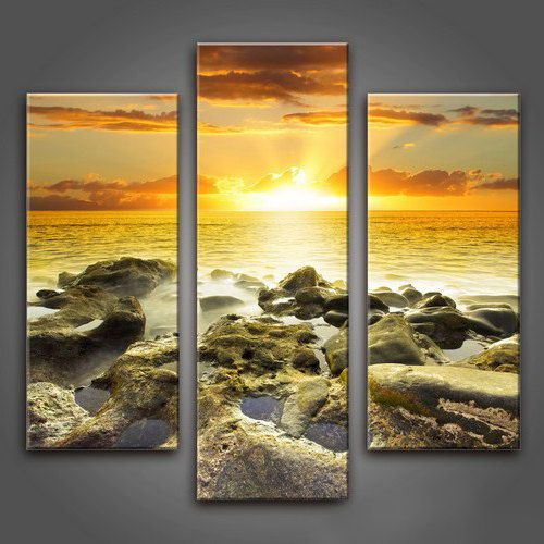 Sunset painting, art print on canvas, completely ready to hang on the wall, no need for frame. Modular painting on canvas of the three segments.