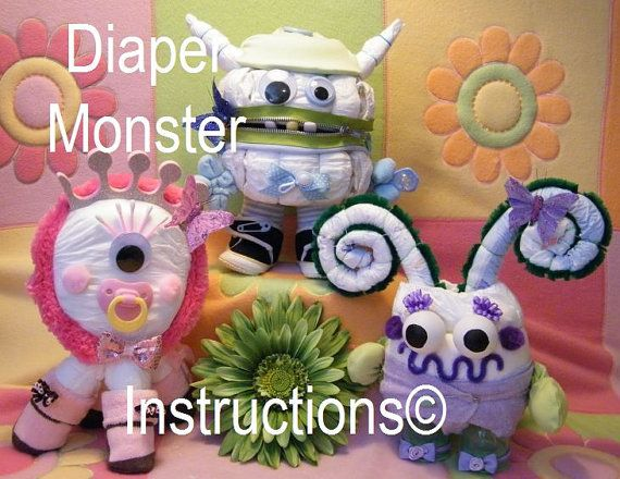 Diaper Monster Diaper Cake Instructions baby shower gift welcome baby gift. How to make. via Etsy