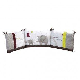 Tour de lit blanc et gris pour lit bébé de 120x60 et 140x70 cm India Sauthon