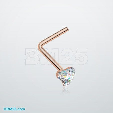 Rose Gold Heart Glitter Sparkle L-Shaped Nose Ring