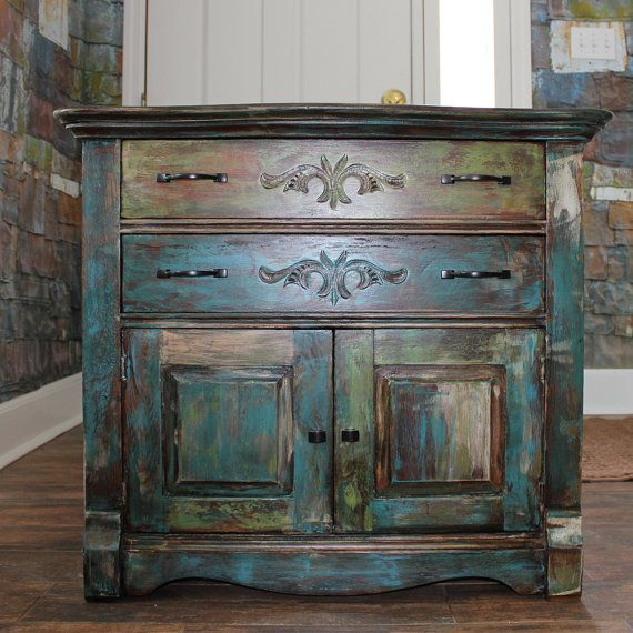 Distressed Paint Vintage Oak Cabinet By