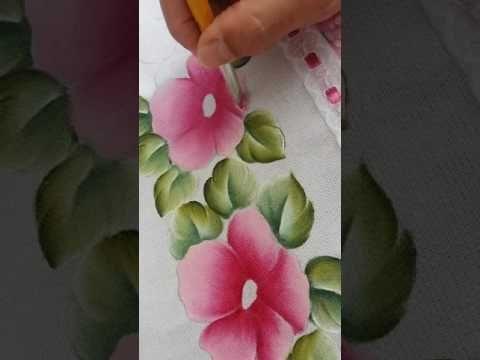 Como pintar folhas, rosas e hortênsias.  Pintura em tecido. - YouTube