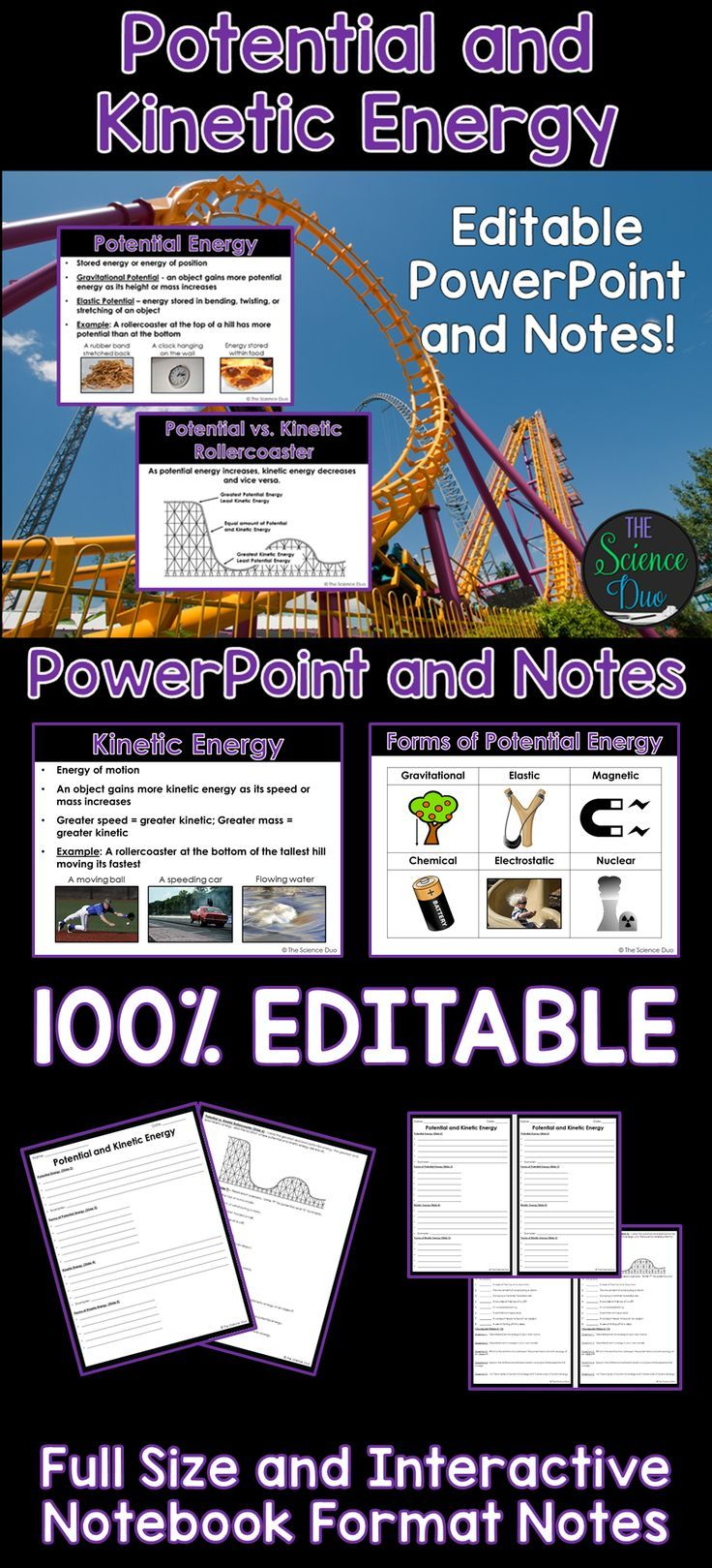 Introduce or help your students review Potential and Kinetic Energy with this PowerPoint presentation. Forms of potential and kinetic energy and examples are included.