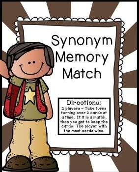 SynonymsSynonym Memory Match CenterCheck out my other $1.00 Centers and Printables:$1.00 Centers and PrintablesPlease note that this center is included in the 2nd Grade Journeys, Lesson 9.  So if you have purchased that set or Unit 2, please do not purchase this center.**Directions:   2 players ~ Take turns turning over 2 cards at a time.