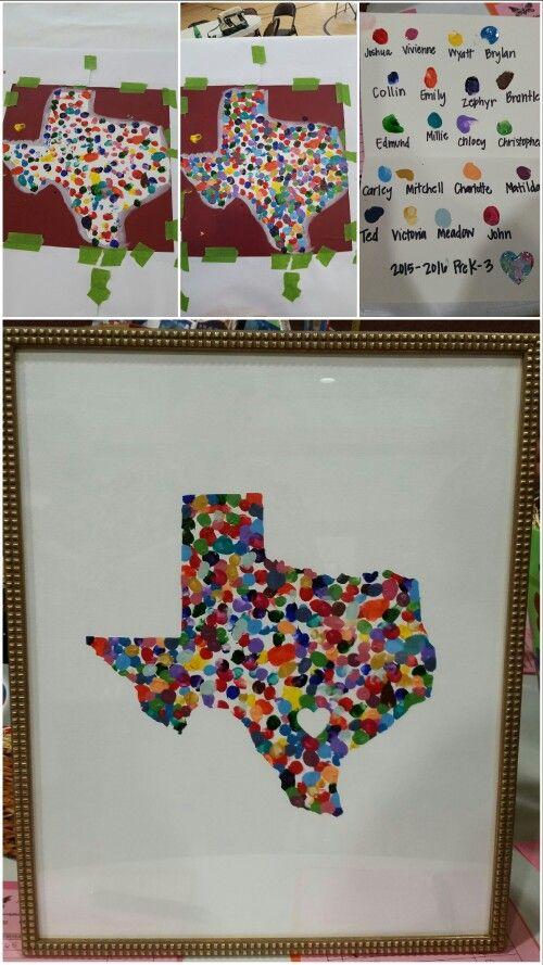 DIY Texas Fingerprint art for my son's preschool class Silent Auction project. Turned out amazing! Progress photos on top. We used a flat canvas. Each child's fingerprint was a different color and we put that on a separate page to give with the painting. #texasart #fingerprintart #auction #classproject