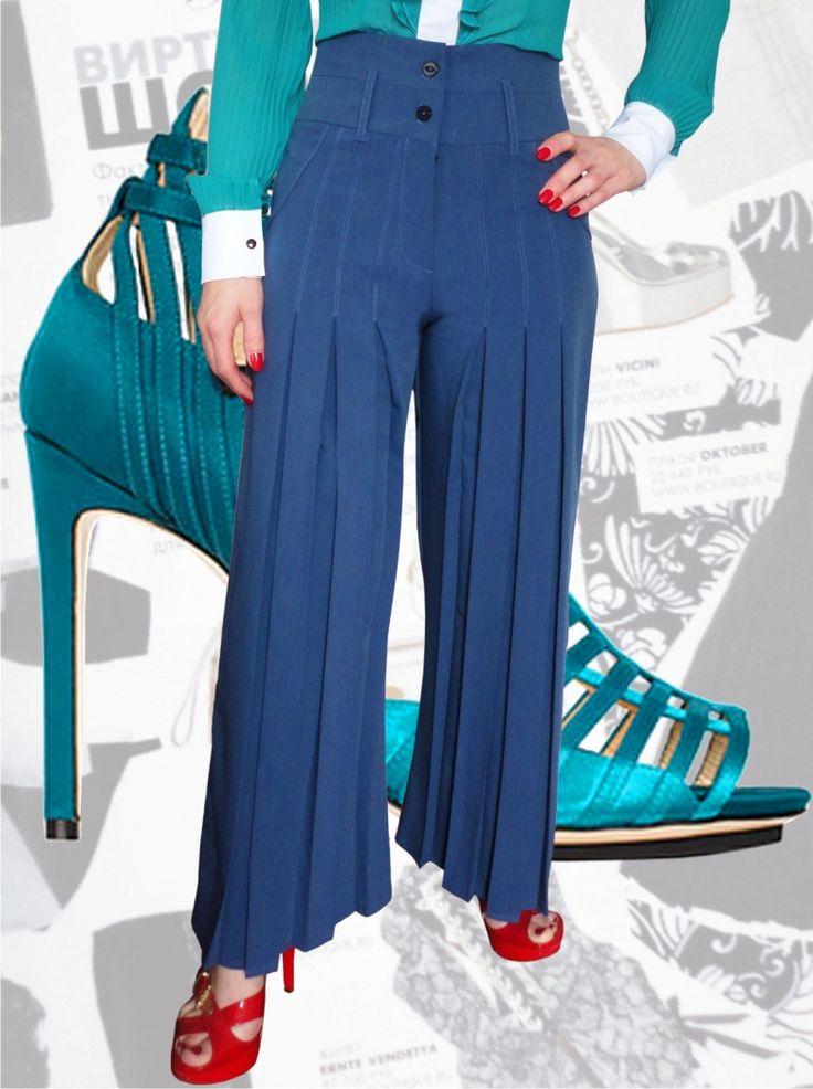 54$ Классические брюки с завышенной талией для полных девушек прямые от бедра со складками из тиар вискозы с расцветкой под джинс Артикул 551, р50-64 Брюки с завышенной талией большие размеры Брюки офисные большие размеры  Брюки классические большие размеры