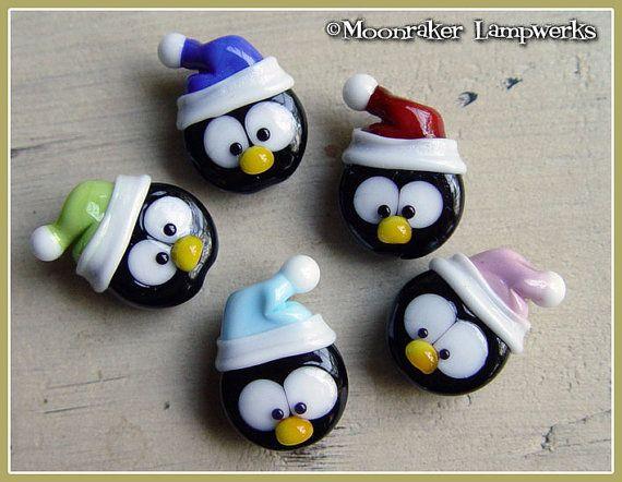 Snow Hat Penguin Winter Christmas Lampwork Bead