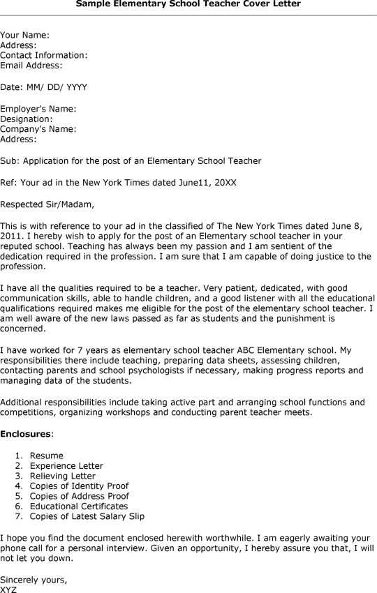 sample cover letter for elementary teacher elementary school template