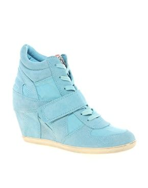 Image 1 of Ash Bowie Turquoise Wedge Trainers