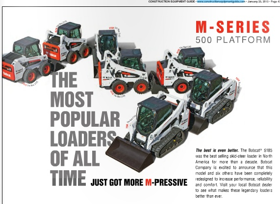 Bob Cat M-Series Skid Steers at Construction Equipment Guide    http://www.constructionequipmentguide.com/used/bobcat/skid-steer-loaders-for-sale/    http://www.constructionequipmentguide.com/used-skid-steer-loaders-for-sale.html