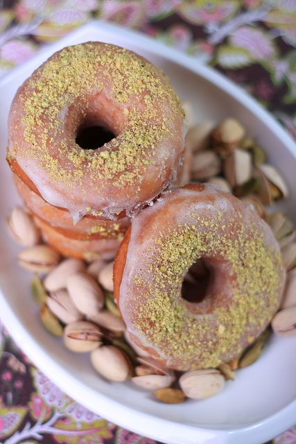 Vegan Doughnuts with Pistachios and Cardamom Glaze.