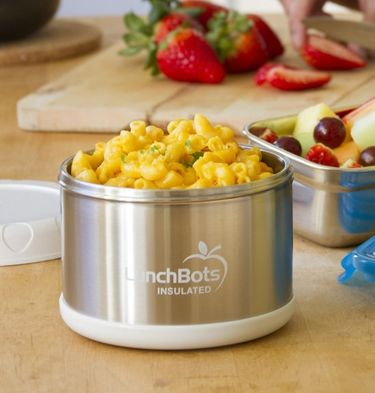 Enjoy a hot lunch on the go! LunchBots Thermal 16-ounce Insulated Food Containers keep hot foods hot for hours - without plastic coming into contact with your food. Plus, the bowl-like shape is natural to eat from and easy to fill, unlike awkward, tall cylinders.