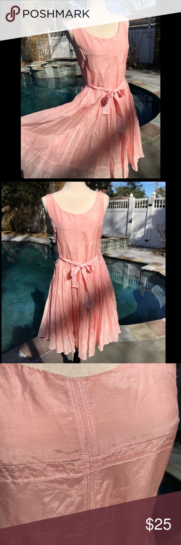 Ariella silk blend soft pink dress🌸💞🌺 Beautiful soft pink dress, no stains, belt loop seen in picture came loose on one end easily fixable.  Material is 70 percent cotton 30 percent silk very soft. Full lined skirt has white stitching Ariella Dresses Midi