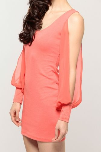 Chiffon Shoulder Cutout Dress