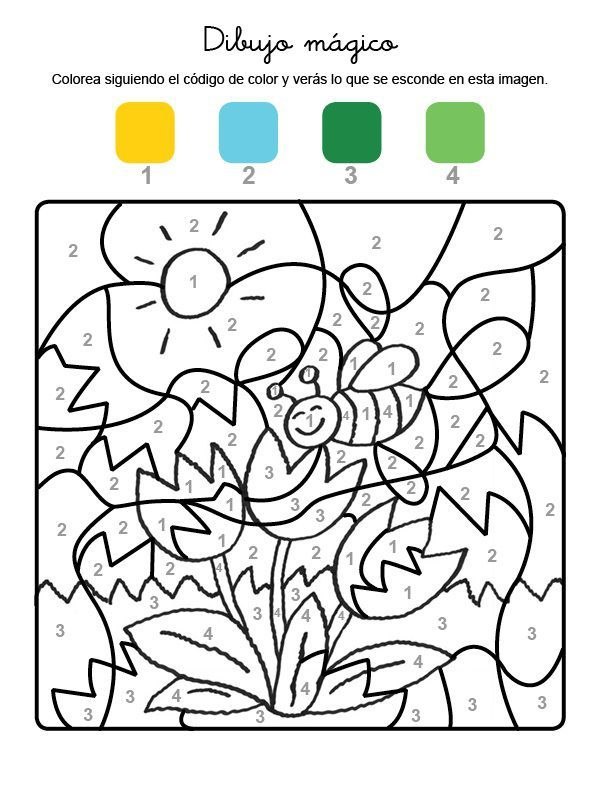 Dibujo Magico De Una Abeja Y Flores Dibujo Para Colorear E
