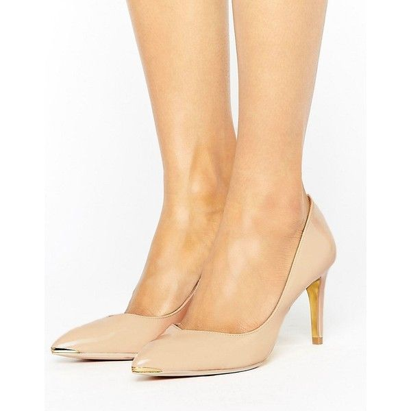 Ted Baker Moniira Point Court Shoe (£85) ❤ liked on Polyvore featuring shoes, pumps, beige, high heel pumps, beige shoes, pointed toe high heel pumps, beige high heel pumps and beige pointy toe pumps