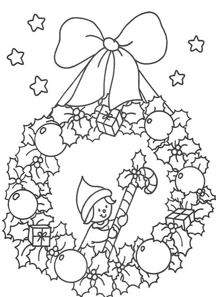 Free Coloring Pages Christmas Wreath