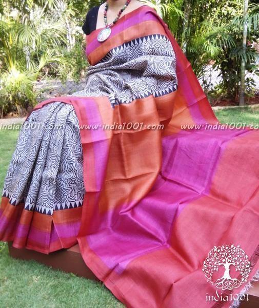 Elegant Block Printed Tussar Silk Saree