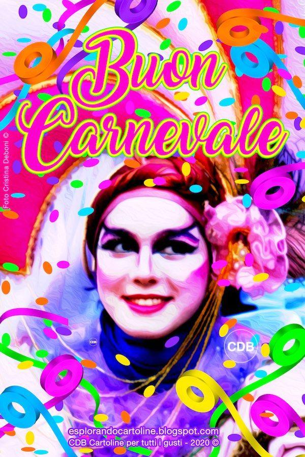 Cartolina Buon Carnevale Con Immagine Di Ragazza Vestita A